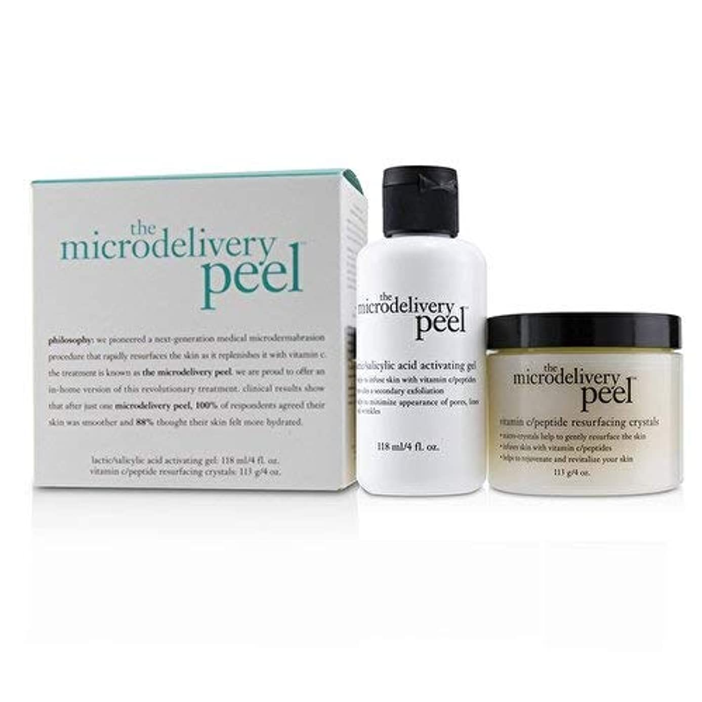 ガラス優しさ転用フィロソフィー The Microdelivery Peel: Lactic/Salicylic Acid Activating Gel 118ml + Vitamin C/Peptide Resurfacing Crystals...