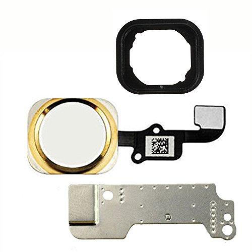 iphone 6(アイフォンシックス) (4.7インチ)とiPhone 6プラス(アイフォンシックスプラス)(5.5インチ)に用いられるゴムガスケットとメタルブラケットを付いたホームボタン指紋認証センサーフレックスケーブルアセンブリーの交換用部品 (ゴールド)