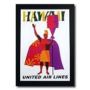 ハワイアンポスター エアラインシリーズ A-41 「ユナイテッドエアライン航空 カメハメハ大王」 サイズ:31×21.5cm