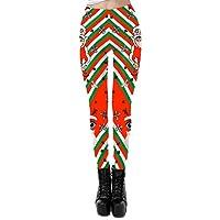 Allumk Women's Digital Print Ugly Christmas Santa Claus Print Leggings Stretchy Tights