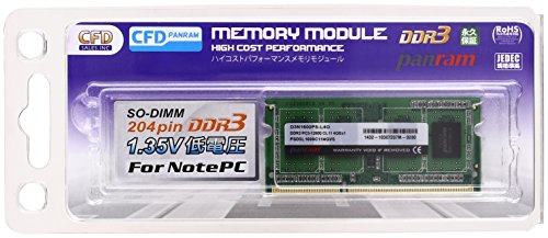 CFD販売 ノートPC用メモリ PCL-12800(DDR3L-1600) 4GB×1枚 1.35V対応 SO-DIMM (無期限保証)(Panram) D3N1600PS-L4G