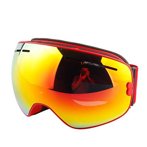BangLong スキーゴーグル ダブルレンズ スノボートゴーグル UV400 紫外線カット 曇り止め 防風防塵 冬山登山/サバゲー/バイク/スキー運動に全面適用 スキー用ゴーグル 男女兼用 (赤色レンズ)