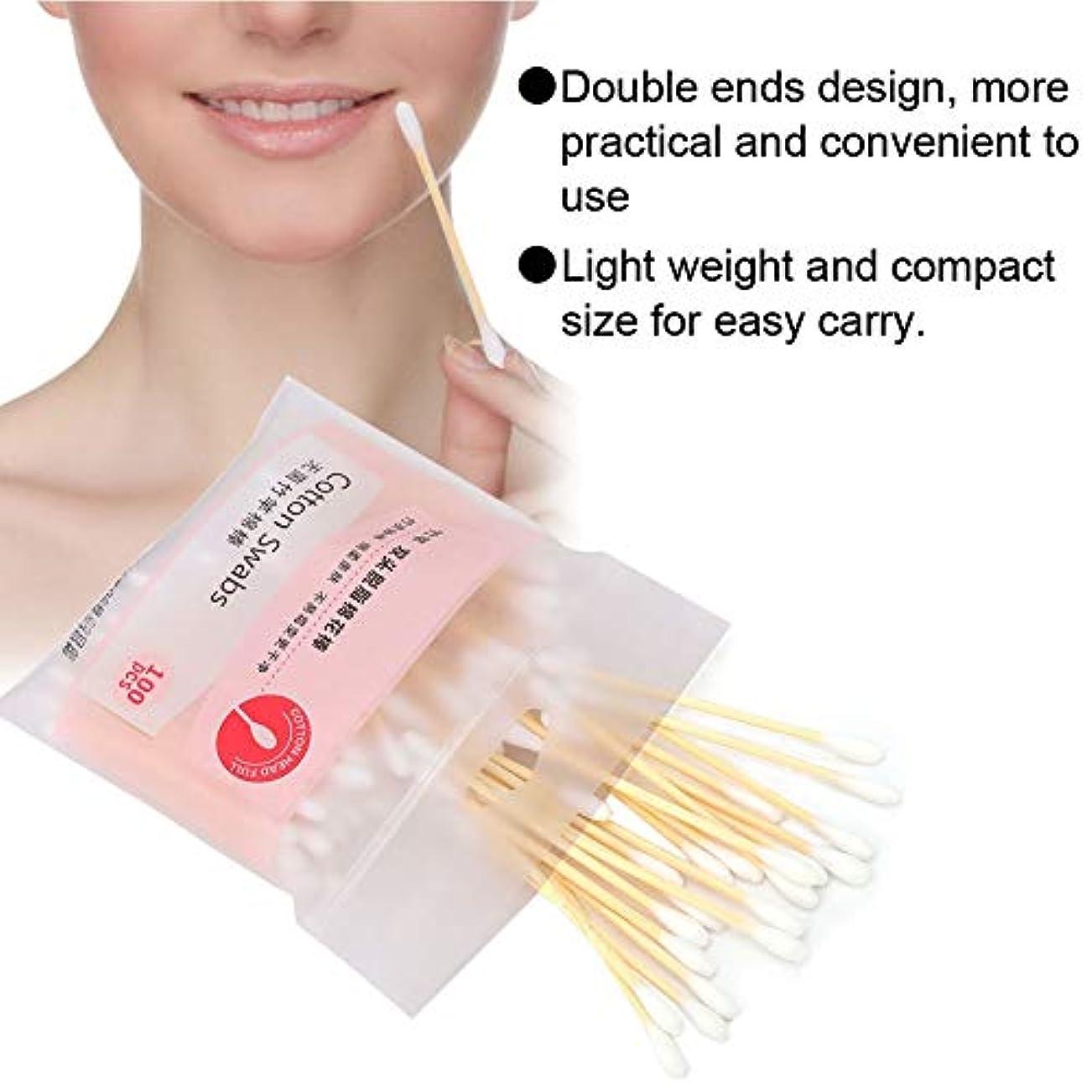 夕方保険をかける不適使い捨てダブルエンド綿棒化粧綿棒綿棒 100個セット