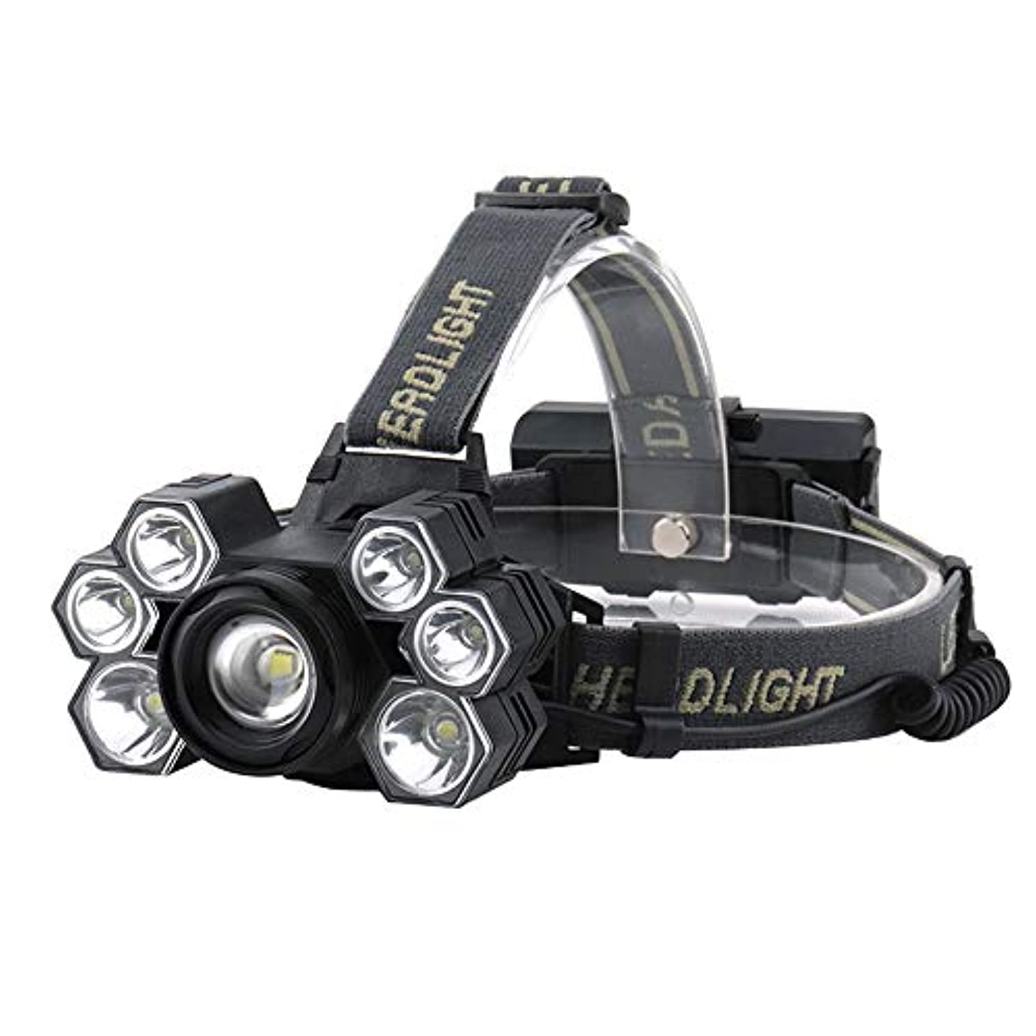汚い絶滅基礎理論LEDヘッドライト、スーパーブライト900ルーメン5モードヘッドライト、防水90ºライトの方向1X18650充電式バッテリー、ベストキャンプランニングハイキングアウトドアアクティビティ毎日の使用(含まれていないバッテリーを含む)