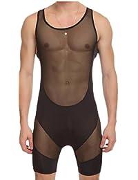 maweisong メンズ下着を通してメッシュレオタードスーツのジャンプスーツを見てください