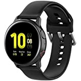 TERSELY 20mm Replacement Band for Samsung Galaxy Gear Watch Active/Active 2 40mm /44mm Sports Silicone Watch Strap Watchband Wristband Smartwatch Bracelet - Black