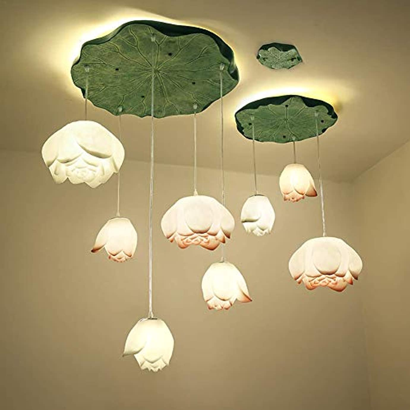 離れて機会記念碑的な現代の新しい中国のロータス茶室リビングルーム通路レストラン樹脂クリエイティブアートロータス中国の照明