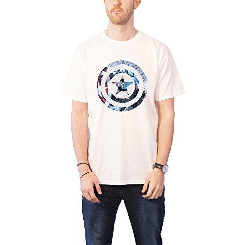 Marvel Comics マーベル・コミック Captain Americaキャプテン・アメリカ shield Knock Out メンズ ホワイトTシャツ