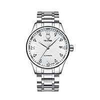 全5タイプ ファッション 機械式腕時計 ステンレスストラップ 自動巻き ウオッチ 見栄え シンプル メンズ アクセサリー - タイプ1
