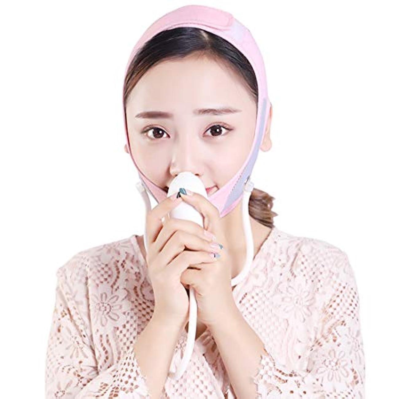 ZWBD フェイスマスク, 薄いフェイス包帯インフレータブル調節可能なフェイスリフトアーチファクト包帯をダブルチンリフト引き締めシワ小さなv顔男性と女性