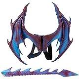 Esolom ツーピース ドラゴンロールプレイング小道具 翼としっぽ 子供用ハロウィンコスチュームパーティー ハロウィン小道具 テーマパーティー用品