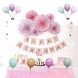 誕生日 飾り付け バースデー HAPPY BIRTHDAYガーランド ペーパーファン  バルーン 装飾セット 風船飾り33点セット 誕生日デコレーション お祝いに ピンク系