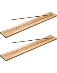 Boao 竹製お香スティックホルダー 香炉 アッシュキャッチャー 5本 長さ9.06インチ