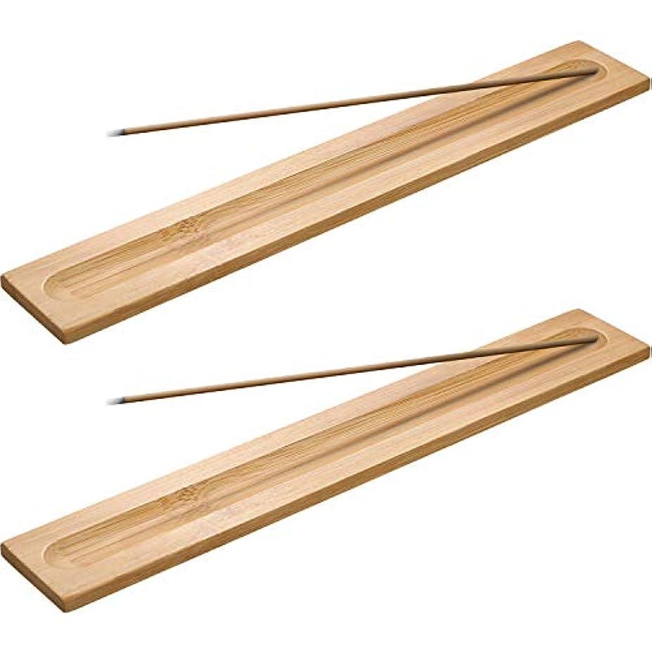 物理的な形ルートBoao 竹製お香スティックホルダー 香炉 アッシュキャッチャー 5本 長さ9.06インチ