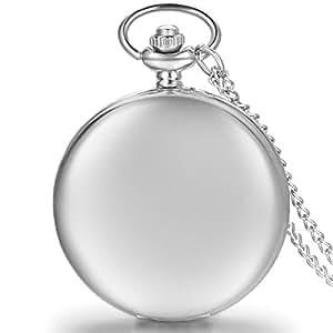 JewelryWe 懐中時計 アンティーク風 ネックレス 時計,ペンダント ウォッチ ポケットウォッチ,鏡面 フルハンター シンプル シルバー ,合金,バレンタイン プレゼント