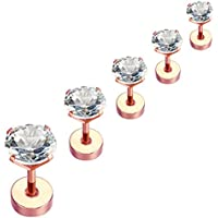 Nicever Stainless Steel Cubic Zirconia Stud Earrings Helix Cartilage Earrings Flat Back 3-7mm 5 Pairs