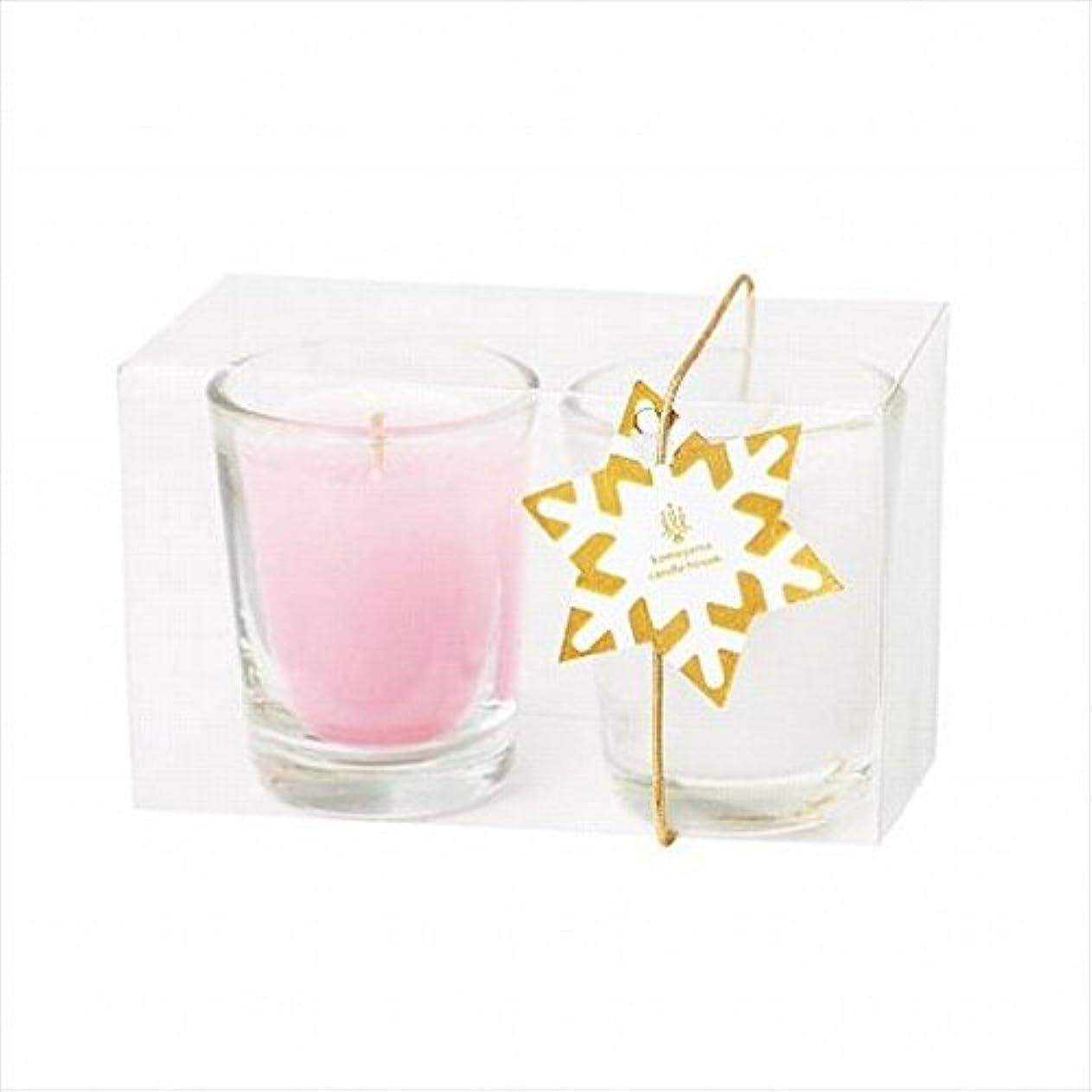 円形のガラス寝るkameyama candle(カメヤマキャンドル) ミニライト2個入り 「 ホワイト&ピンク 」(A9570020)