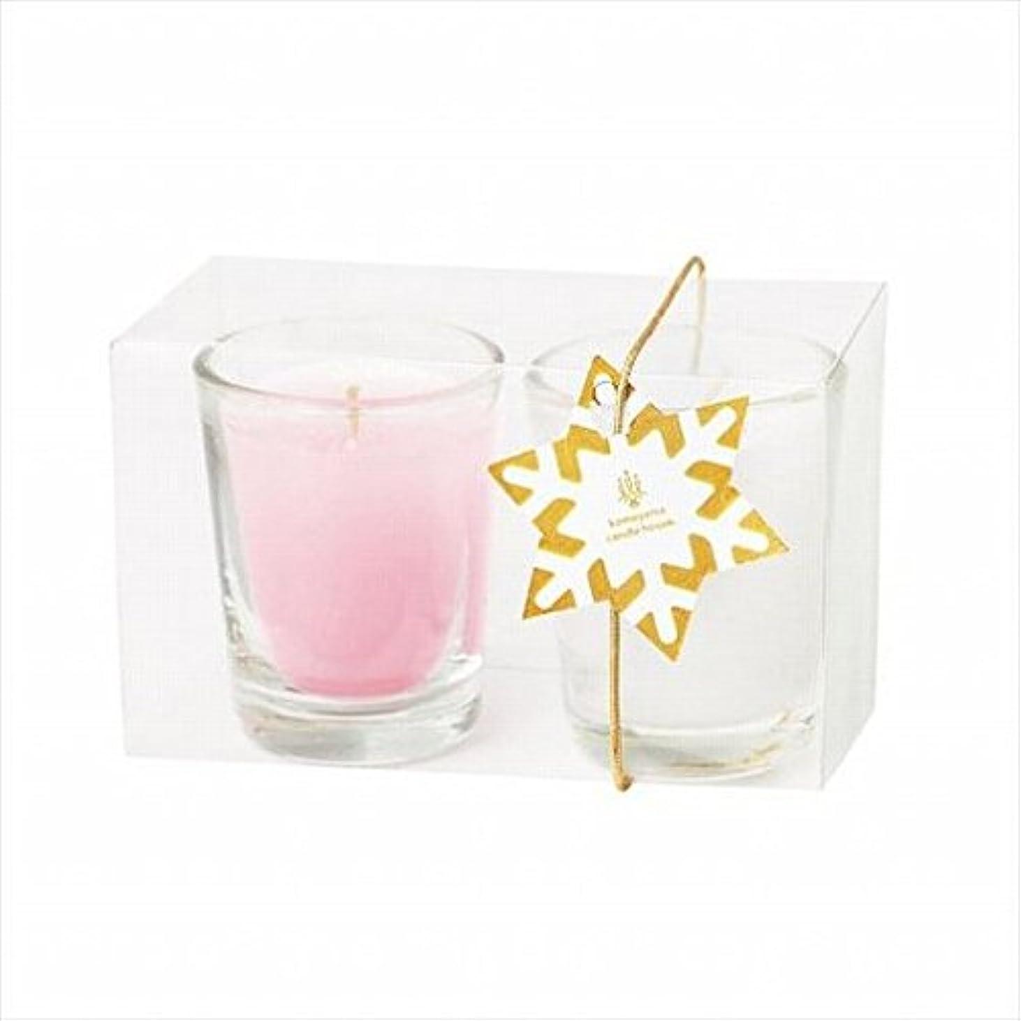 暴力苦い扇動kameyama candle(カメヤマキャンドル) ミニライト2個入り 「 ホワイト&ピンク 」(A9570020)
