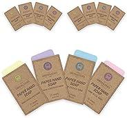 GREENSLEEVES Paper Soap, 4 Boxes Total 100 Sheets Portable Hand Washing Soap Sheets Lemongrass Lavender Ocean