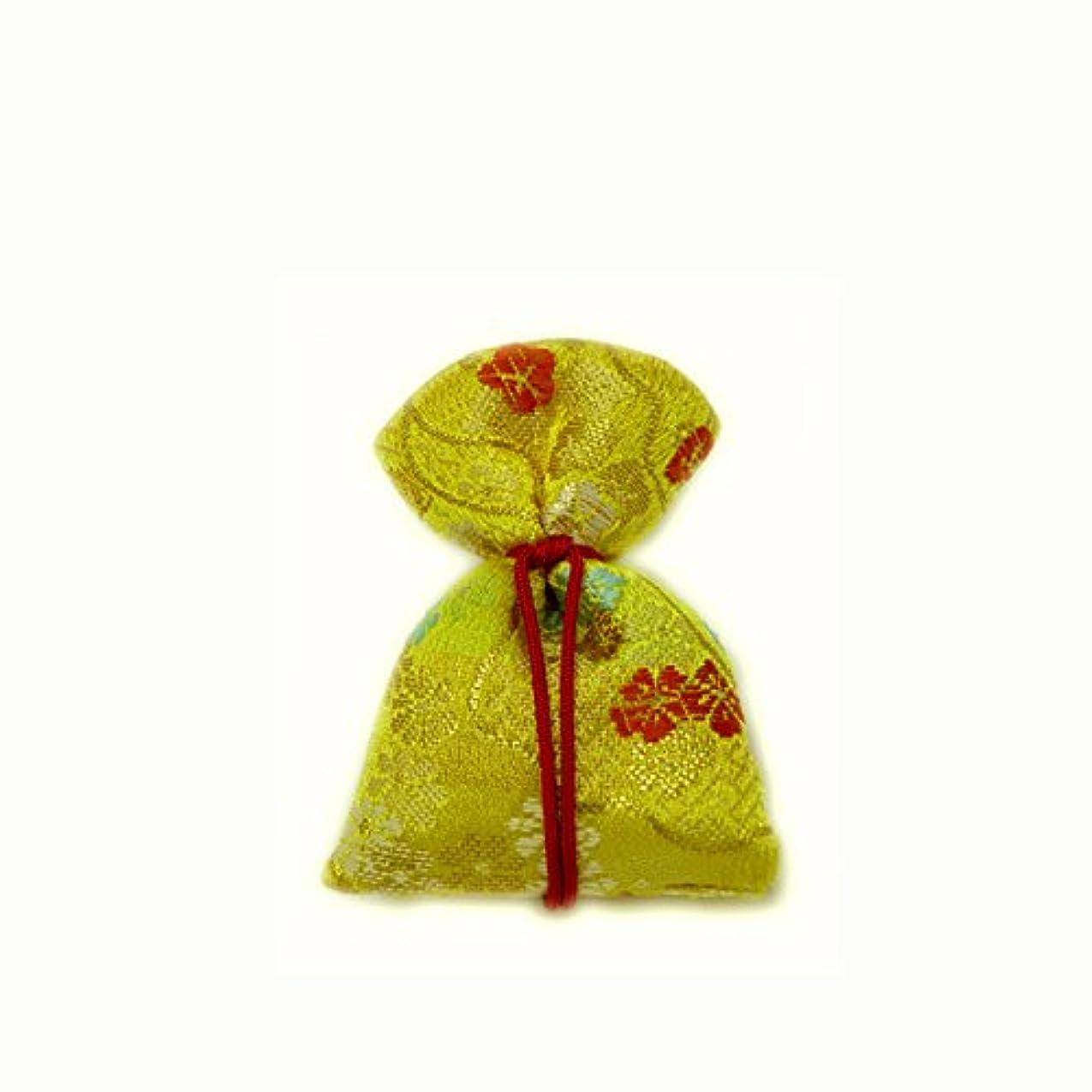 アリーナわずらわしいかび臭い匂袋 巾着 金襴中 黄系