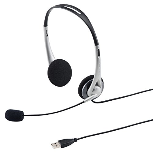 サンワサプライ USBヘッドセット/ヘッドホン シルバー MM-HSUSB16SV