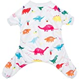 CuteBone Colorful Dinosaur Dog Pajamas Soft Polyester for Pet Cute Puppy Darkblue Clothes Pjs Apparel Jumpsuit