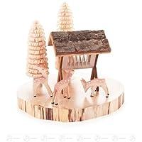 シカのミニチュアは木ディスク高さの飼葉そして B?umchen のための棚によって、およそ 11 の cm の鉱石山のクリスマス図木図切り分けました