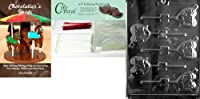 Cybrtrayd Love矢印Lolly Valentineチョコレート型Chocolatiersバンドルの25Lollipopスティック、25Cello Bags and 25レッドツイストTies