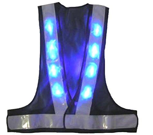 安全・サイン8 青色LED安全ベスト テープ幅60ミリ 紺メッシュ・白銀色テープ LED-BW-B