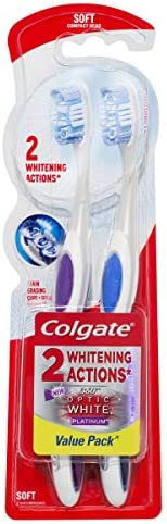 Colgate 360° Optic White Platinum Soft Manual Toothbrush, 2 Pack