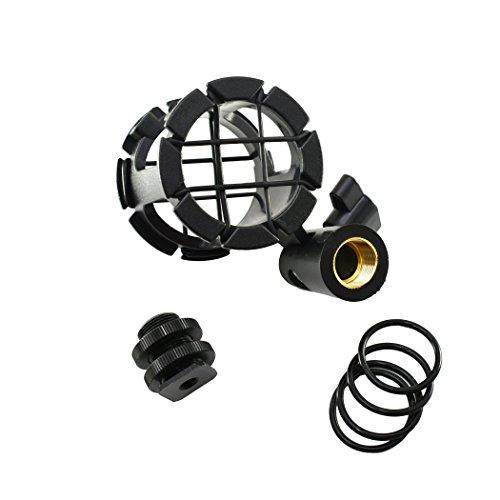 AORO マイクショックマウント マイクホルダー カメラシューズとボンポール用 振動防止 角度調整可...