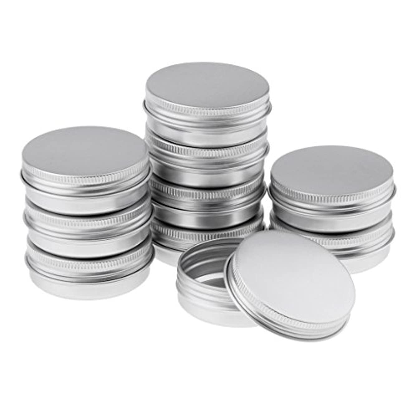 船乗り商品芽Blesiya 10個 アルミ容器 空缶 ジャー スクリュー蓋付き 収納箱 3サイズ選べる - 5.7x2.3 cm