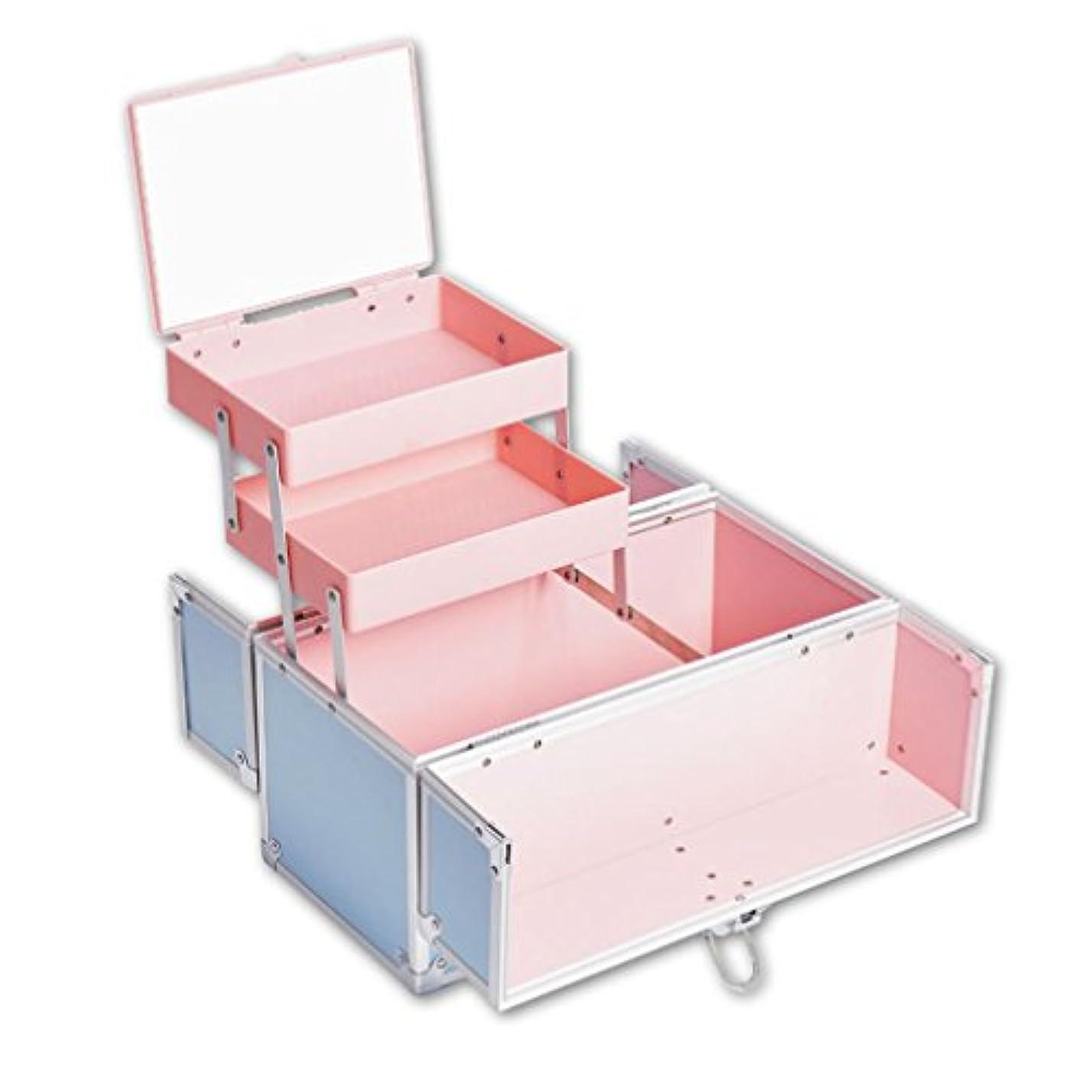 見積り製造鎖「XINXIKEJI」メイクボックス コスメボックス 大容量 2段 鏡付き 洗える 化粧ボックス スプロも納得 収納力抜群 鍵付き かわいい 祝日プレゼント  取っ手付 コスメBOX ブルー