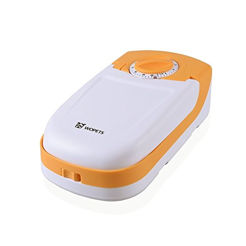 WOpet 自動給餌器 犬猫用自動給餌器 おるすばん食器 1食分 タイマー式 乾電池 室内用 (黄色商品サイズ:24*12.5*7CM