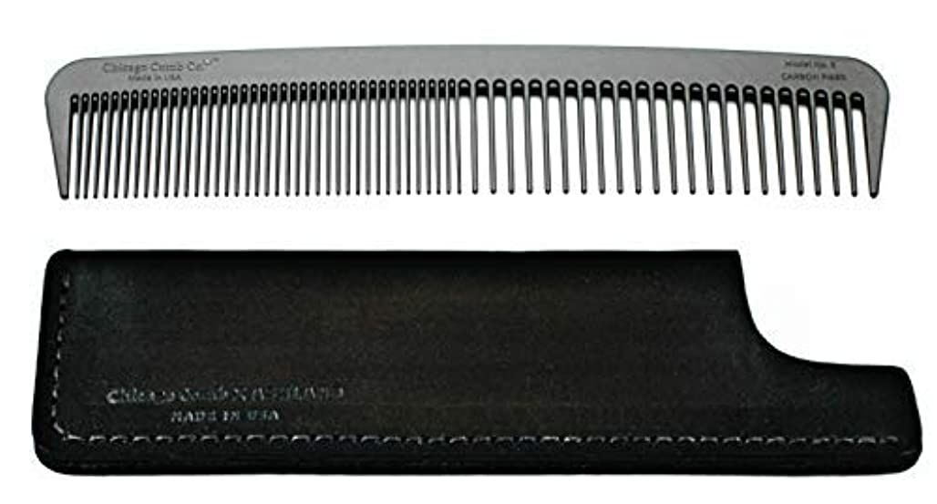 試す蒸留する熟したChicago Comb Model 6 Carbon Fiber Comb + Dublin Black Horween leather sheath, Made in USA, ultimate styling comb...