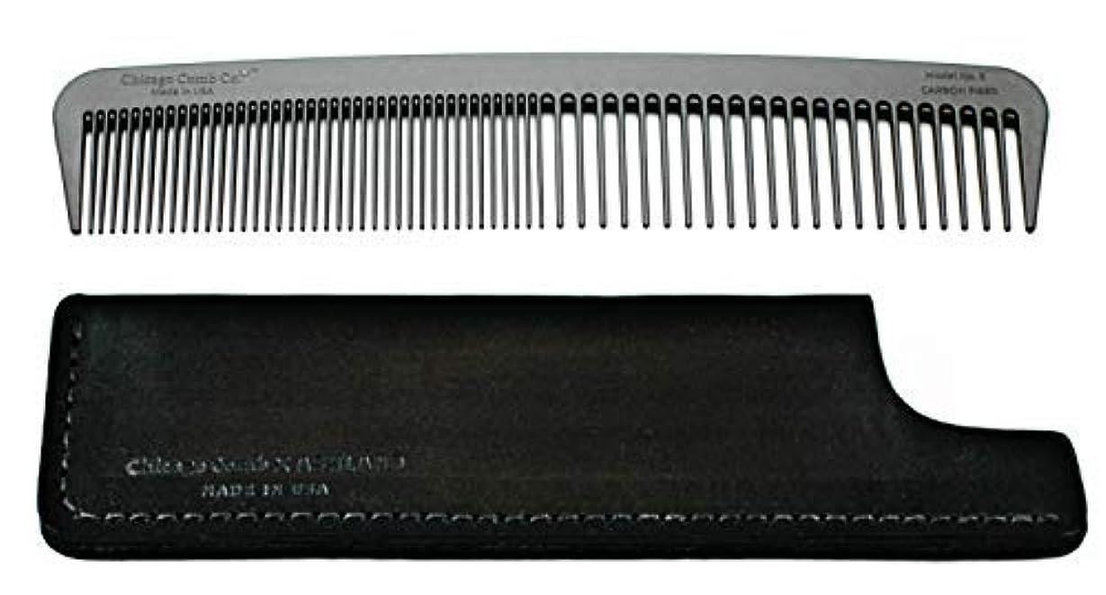 永続出くわすピークChicago Comb Model 6 Carbon Fiber Comb + Dublin Black Horween leather sheath, Made in USA, ultimate styling comb...