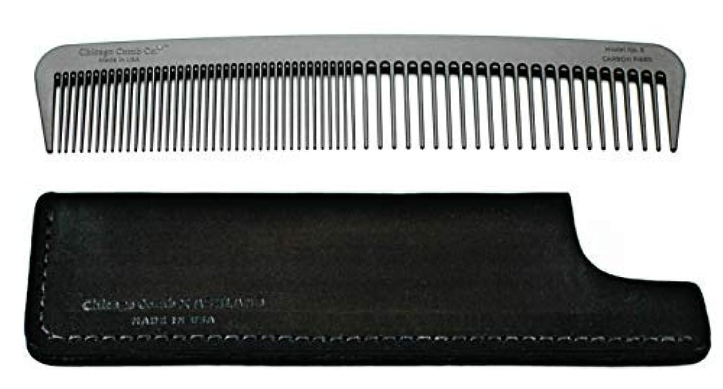 もホイッスルもちろんChicago Comb Model 6 Carbon Fiber Comb + Dublin Black Horween leather sheath, Made in USA, ultimate styling comb...