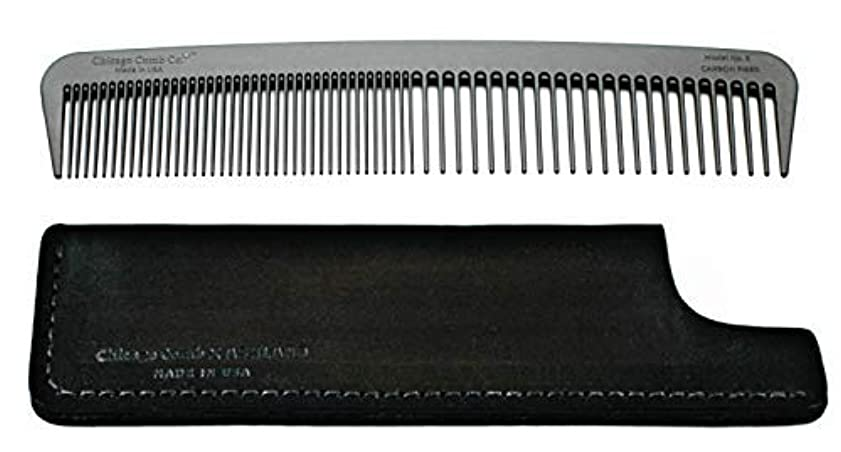 Chicago Comb Model 6 Carbon Fiber Comb + Dublin Black Horween leather sheath, Made in USA, ultimate styling comb...