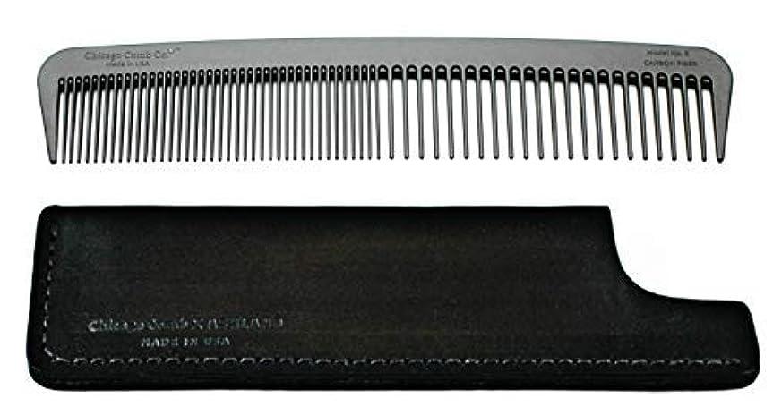 晩餐剥離ワイドChicago Comb Model 6 Carbon Fiber Comb + Dublin Black Horween leather sheath, Made in USA, ultimate styling comb...