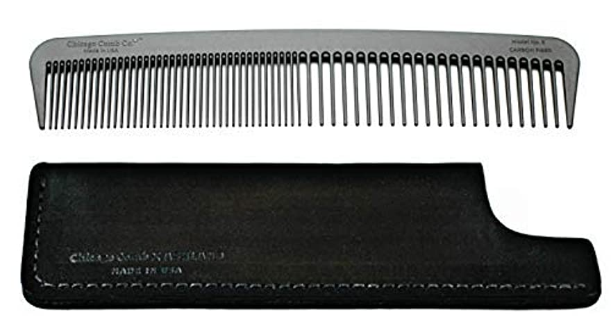 そっと織る無効Chicago Comb Model 6 Carbon Fiber Comb + Dublin Black Horween leather sheath, Made in USA, ultimate styling comb...