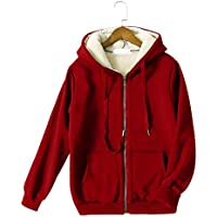 Yeokou Women's Full Zip up Sherpa Lined Hooded Sweatshirt Jacket Coat