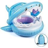 赤ちゃんのプールフロートキャノピー付きフロートスイミングフロート、子供のためのインフレータブルFloatieスイムリング9-36ヶ月、安全座席サメリングボートフローティング
