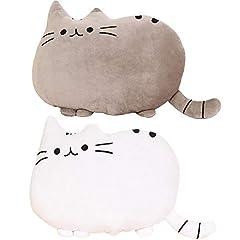 [ヤクニタツ]ふわふわ やわらか 可愛すぎる 猫 クッション オフィス 勉強 机 インテリア などに 高反発 かわいい ネコ クッション 癒し 抱き枕にも(2個セット グレー xホワイト)