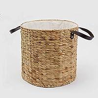 ZZHF xiyilan 収納バスケットウィローラタンカバーなしの汚れた服ハムパー収納バスケット大通気性のバスケット衣類ストロー バスケット (サイズ さいず : 33 * 25cm)