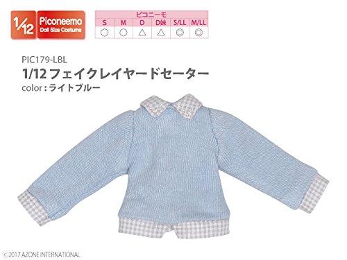 ピコニーモ用 1/12 フェイクレイヤードセーター ライトブルー (ドール用)