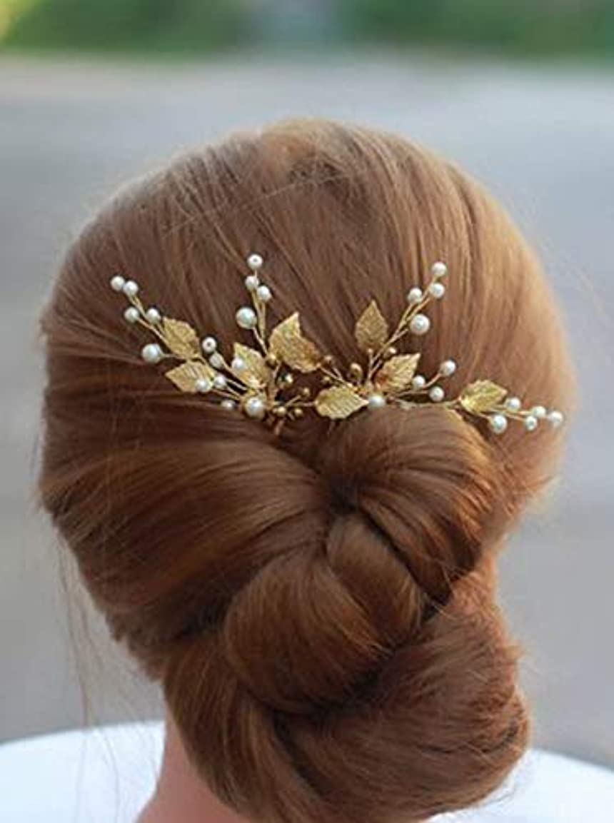 暗殺毎日歩行者Deniferymakeup 3 Pcs Gold Wedding Headpiece Comb Art Deco Hair Accessories Bridal Hair Pin Gold Ivory Bridal Head...