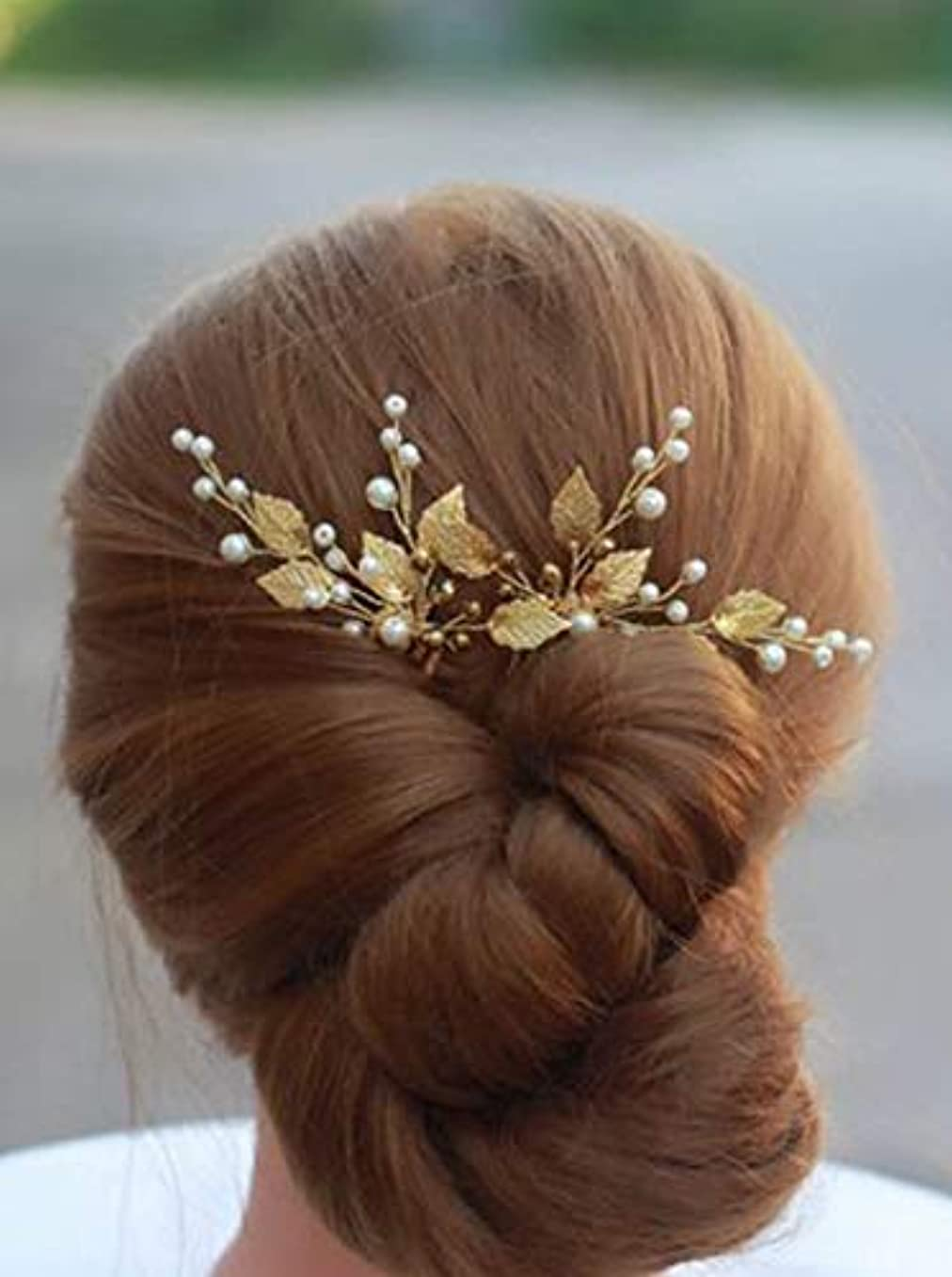 マイコン干し草対処するDeniferymakeup 3 Pcs Gold Wedding Headpiece Comb Art Deco Hair Accessories Bridal Hair Pin Gold Ivory Bridal Head...