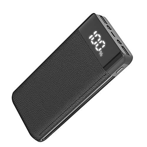 モバイルバッテリー 20000mah 大容量 急速充電 スマホ充電器 2USB出力ポートでき 地震/災害/旅行/出張/緊急用などの必携品 iPhone/Android/iPad各種対応(Black)