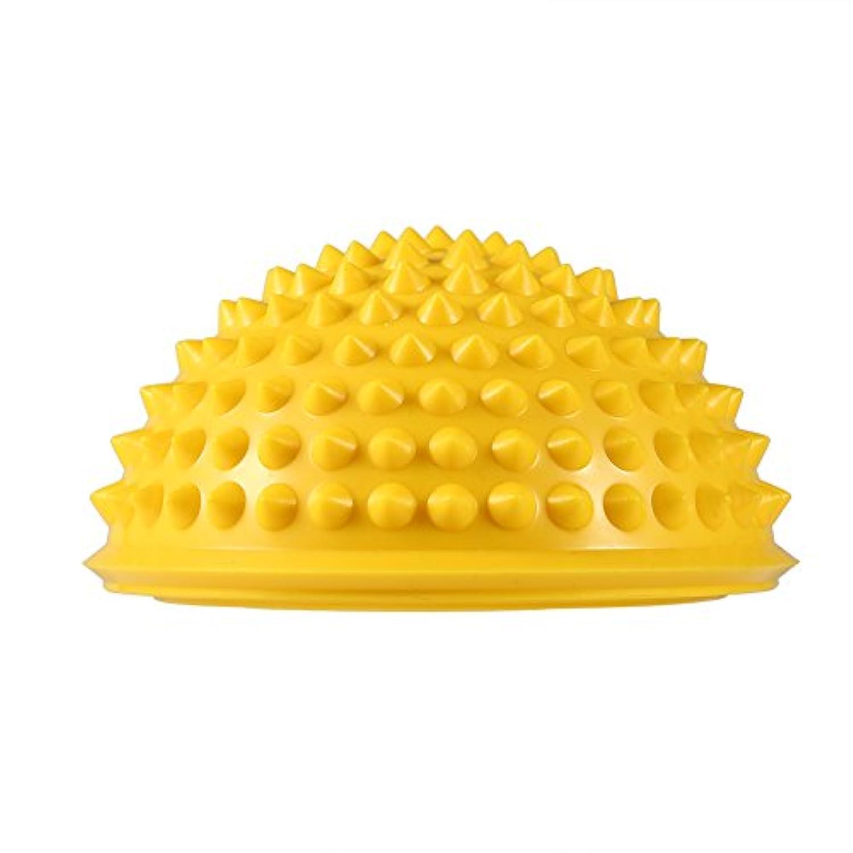 代わりに子供時代チーズハーフラウンドPVCマッサージボールヨガボールフィットネスエクササイズジムマッサージ5色(イエロー)