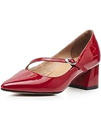 女性の靴ブライダルハイヒールドレスディナー妖精のサンダルを指差して浅い口シングルプリンセス春夏秋赤 (サイズ さいず : UK3/EU35/CN34)